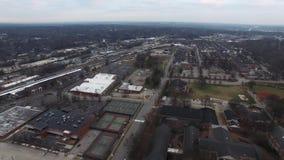 Raleigh NC Aerial Video Housing Development alongside Train Tracks stock video