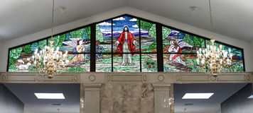 RALEIGH, NC - January 4, 2015: Stained glass window in the Ralei. Gh Memorial Park Mausoleum of Raleigh, North Carolina, United States, on January 4, 2015 Stock Photos