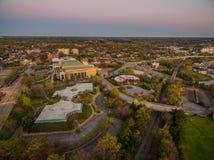 Raleigh NC på skymning arkivfoto