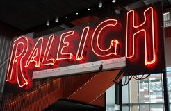 Free RALEIGH,NC/USA - 3-21-2020: Neon Raleigh Sign In The Interior Of The Union Station Train Depot In Raleigh, NC Stock Photography - 178899042