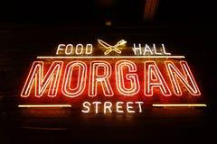 RALEIGH,NC/USA - 8-24-2018: Morgan Street Food Hall neon sign in stock image