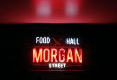 RALEIGH,NC/USA - 8-24-2018: Morgan Street Food Hall neon sign in stock photography