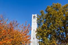 Memorial Belltower at NC State University. RALEIGH, NC, USA - NOVEMBER 24: Memorial Belltower on November 24, 2017 at North Carolina State University in Raleigh royalty free stock image
