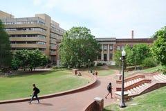 RALEIGH NC/USA - 4-25-2019: Studenter som går på universitetsområdet av norr Carolina State University i Raleigh fotografering för bildbyråer