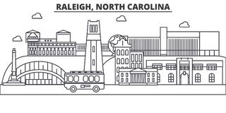 Raleigh, North Carolina architecture line skyline illustration. Linear vector cityscape with famous landmarks, city Stock Photo