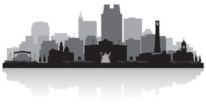 Raleigh North Carolina-het silhouet van de stadshorizon vector illustratie