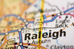 Raleigh, North Carolina on map. Closeup of Raleigh, North Carolina on a road map of the United States Royalty Free Stock Images
