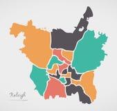 Raleigh North Carolina Map met buurten en modern rond s stock illustratie