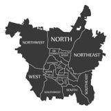 Raleigh North Carolina-stadskaart de V.S. geëtiketteerd zwarte illustratie stock illustratie
