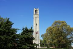 Raleigh Streetscape - NC State University Bell Tower Royalty Free Stock Photos