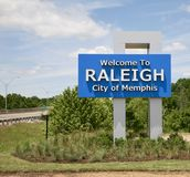Raleigh Welcome Sign, City of Memphis. Raleigh is a suburban community in northcentral Memphis, Tennessee named for a formerly incorporated town that used to be Royalty Free Stock Image