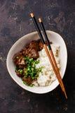 Ralentissez le boeuf cuit avec du riz images libres de droits