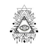 RAll-seeing eye pyramid symbol. Royalty Free Stock Images