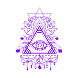 RAll-seeing eye pyramid symbol. Stock Images