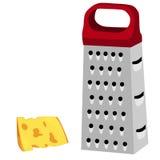 Rallador con la manija y el queso rojos Imagen de archivo libre de regalías