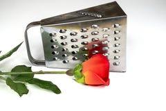 Rallador de la cocina con la rosa del rojo en un fondo blanco Fotos de archivo libres de regalías