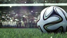Rallenti la macchina fotografica dello spostamento a pallone da calcio in erba Movimento lento 4k video d archivio