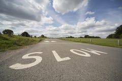 RALLENTI, segnaletica stradale BRITANNICA fotografia stock libera da diritti