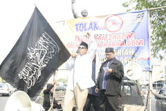 Rallies Muslim element in Solo. Demonstrations conducted Muslim elements in the Roundabout Gladag, Solo, Central Java about rising oil and gas prices in Royalty Free Stock Images