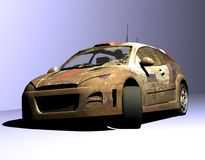 Rally. Scene sport car , executed in 3 D Royalty Free Stock Photo