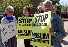 Rally against anti-Muslim bigotry. MINNEAPOLIS - SEPTEMBER 11:  Demonstrators mark the anniversary of 9-11 to rally against anti-Muslim bigotry on September 11 Stock Images