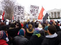 Rally Against Mubarak at the White House Stock Photo