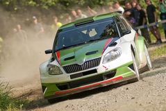 Rally car in action - Å¡koda fabia S2000 Royalty Free Stock Images