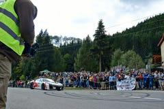 Ferrari F430 tuning rally car. Rally car in action on asphalt. Ferrari F430 tuning. Panning shot Royalty Free Stock Photography