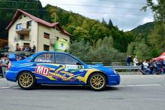 Subaru Impreza WRX STI tuning rally car. Rally car in action on asphalt. Subaru Impreza WRX STI tuning. Panning shot Stock Image