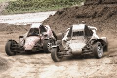 Rally car in autocross race Royalty Free Stock Photography