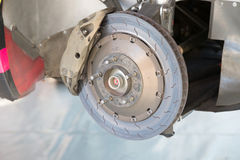 Rally car brake system detail Royalty Free Stock Images