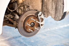 Rally car brake system detail Stock Photo