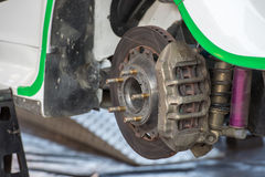 Rally car brake system detail Royalty Free Stock Photo