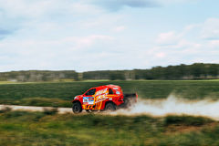 Rally car Chinese team goes on road Stock Image