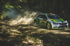 Rally car at Cotnari Rally 2016 Royalty Free Stock Photography