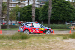 Rally Car of Dani Sordo in Salou , Spain. Dani Sordo and his co-driver Marc Marti in Hyundai i20 , stage 17 from the 51th rally RACC of Spain stock images