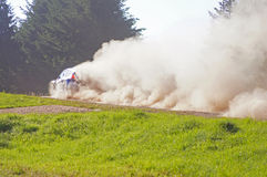 Rally car on a dirt road Royalty Free Stock Images