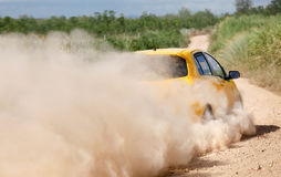 Rally car in dirt track Royalty Free Stock Image