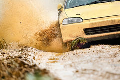 Rally Car in dirt track. Rally Racing Car in dirt track Royalty Free Stock Photo