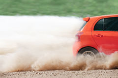Rally car in dirt track Stock Image