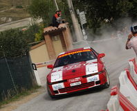 Rally car drifting Stock Photo