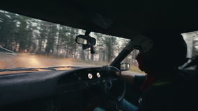 Rally car driver during race stock video footage