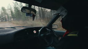 Rally car driver during race stock video