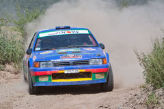 Rally car on gravel stage Stock Photos