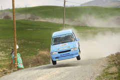 Rally car jumping Stock Photography