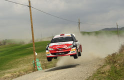 Rally car jumping Stock Photos
