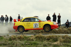 Rally car jumping Royalty Free Stock Images