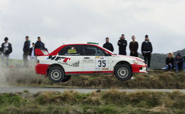Rally car jumping Royalty Free Stock Photo