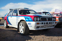 Rally car `Lancia Delta Integrale` - the participant of festival of retro transport `Fortune - 2016` in Kronstadt Stock Photography