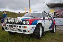 The rally car `Lancia Delta` of the ninetieth years at  retro transport  exhibition in Kronstadt Stock Image
